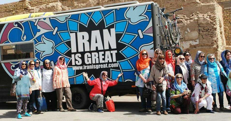 Group of European Tourists in Iran