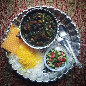 Ghormeh Sabzi and salad