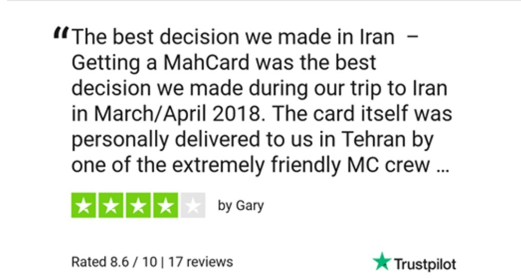 TrustPilot Review For MahCard