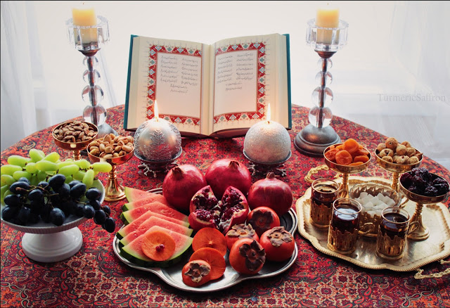 Yalda Night; Hafez poetry, red fruits, nuts and tea