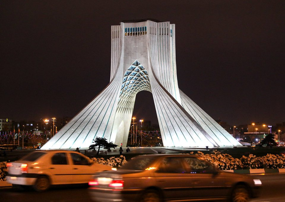 Azadi Tower at night
