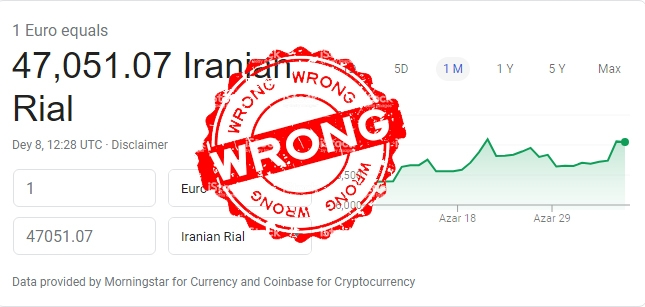 Iranian Currency exchange is wrong on Google and many other websites
